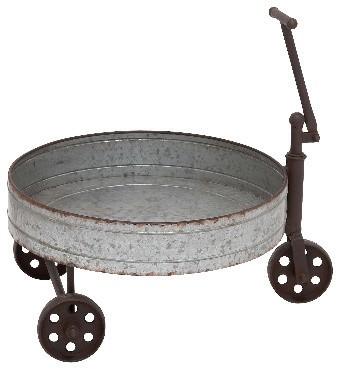 Round Metal 3-Wheeled Wheel Barrow