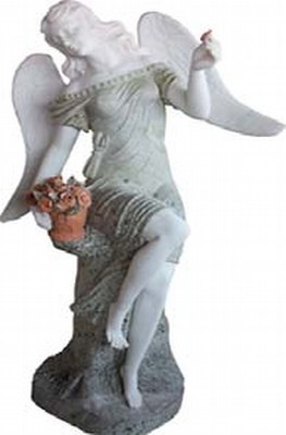 Sculpture of Lady Angel Holding Flowers Basket