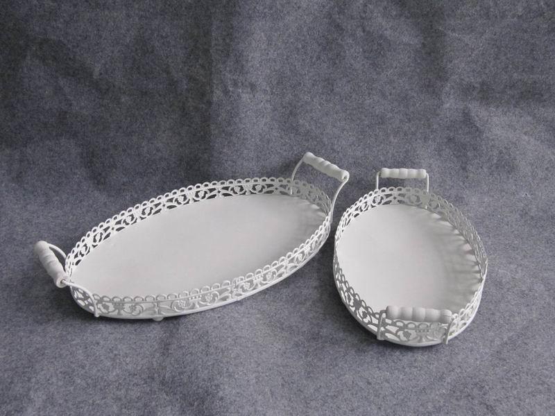 Set- 2 Decorative White Oval Shape Metal Tray