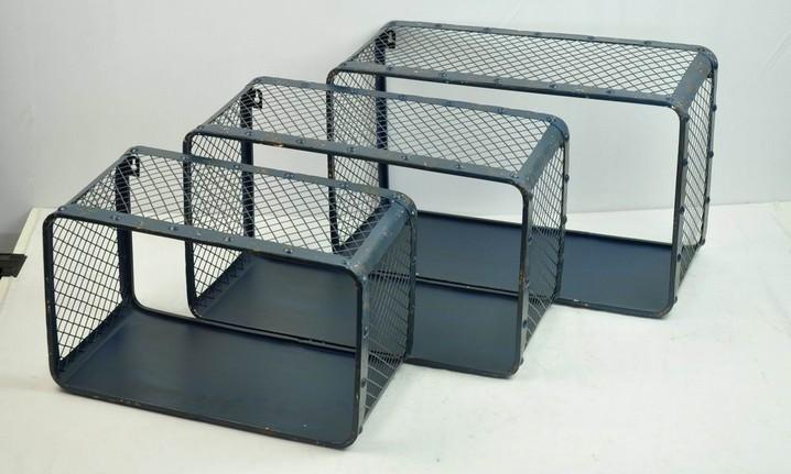 Set Of 3 Black Metal  Wall Storage Shelf