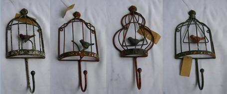 Set Of 4 Decorative Antique Bird Cage Metal Wall Hook