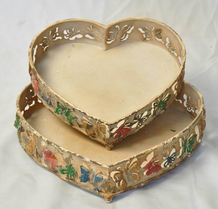 Shabby White Metal Heart Shape Decorate Tray(Set-2)