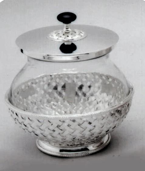 "Silver Finish Brass Jar, 9"" X 9"""