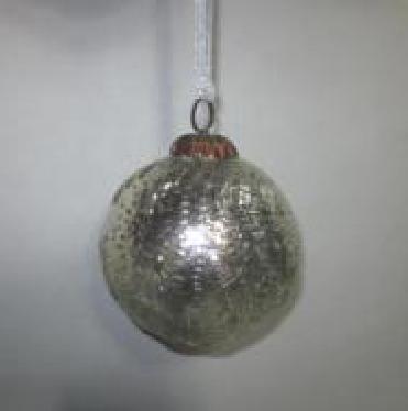Silver Globe Hanging Christmas Decor  Dia 10 cms