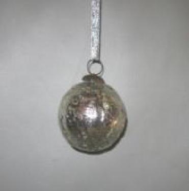 Silver Globe Hanging Christmas Decor  Dia 5 cms
