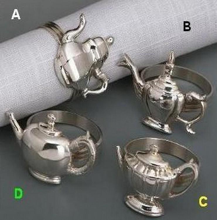 Silver Plated Teapot Napkin Ring 4 Pcs Set