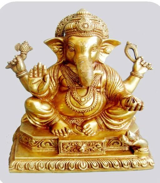 Sitting Ganesha Statue, 14 Inches