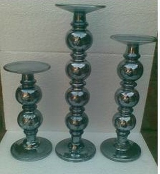 Small Pillar Candle Holder In Antique Silver Black