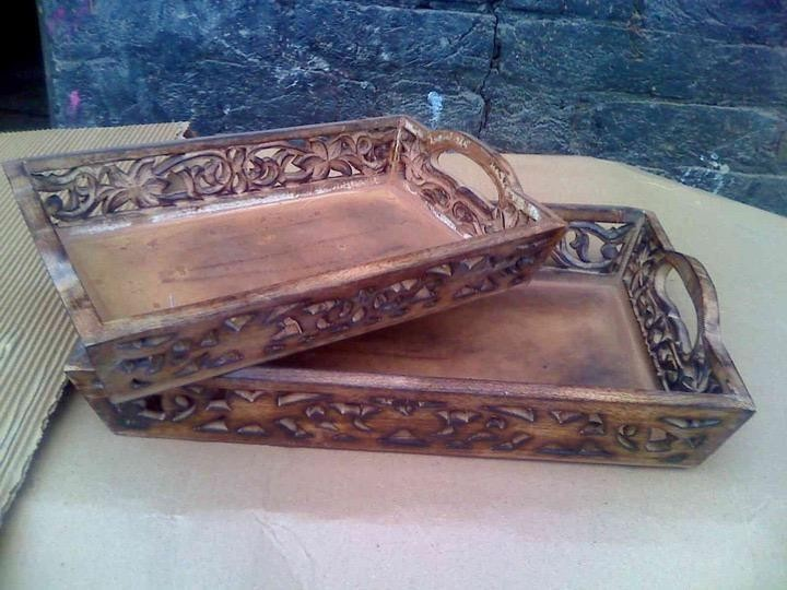Small Mango Wooden Floral Curved Tray 15'' x 10""