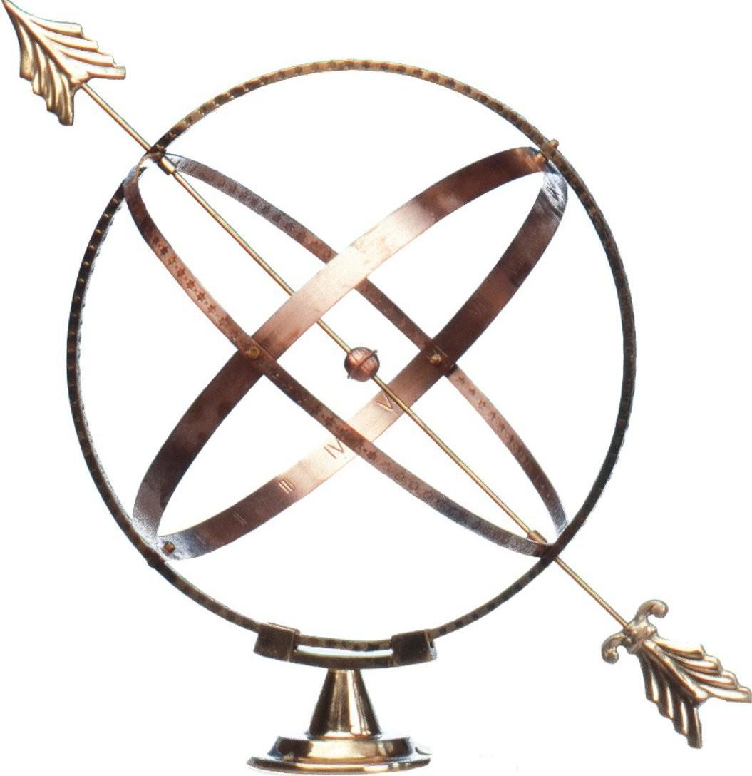 Stylish Brass Spherical Sundial With Arrow