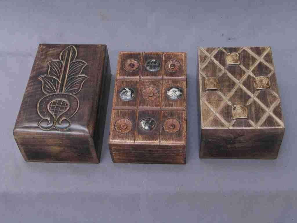 Three Natural Design Rectangle Wood Box