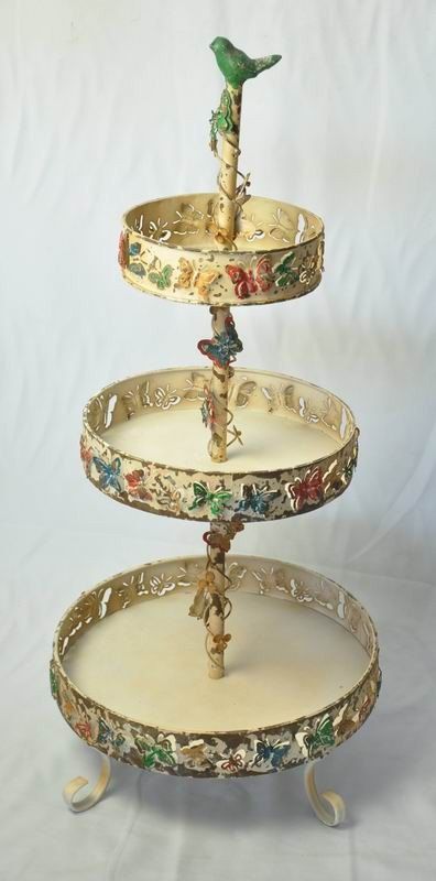 Vintage chic shabby metal round tray With 3 Tiered
