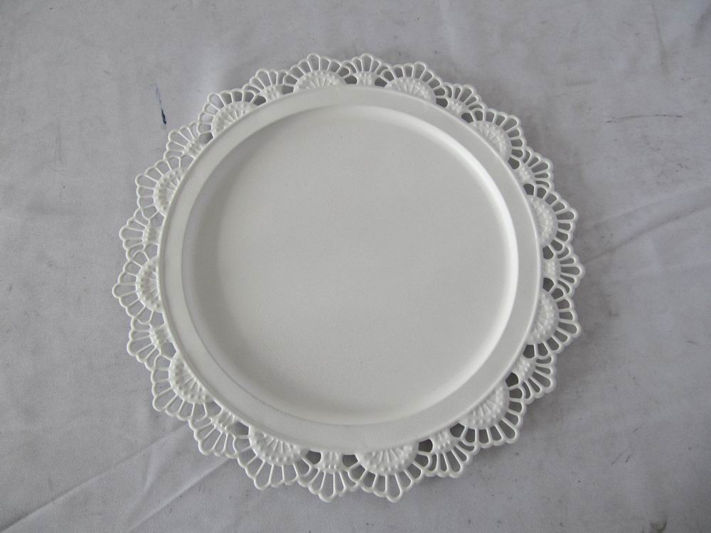 Vintage Decorative White Metal Lace Tray