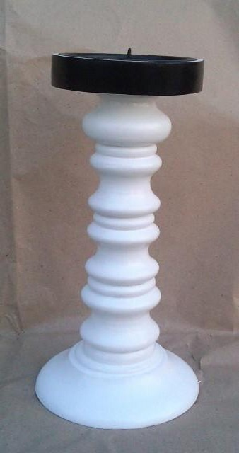 """4'' x 6"""" Vintage White Decorate Wooden Candle Stick"""