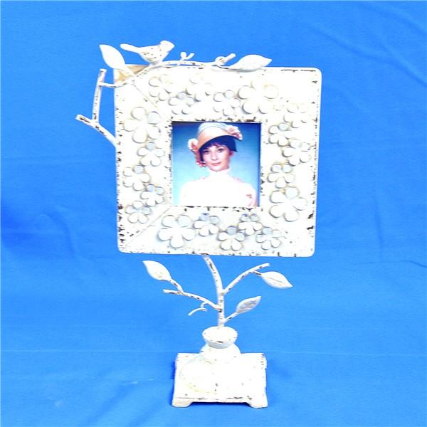 White Decorative Floral & Bird Carving Photo Frame