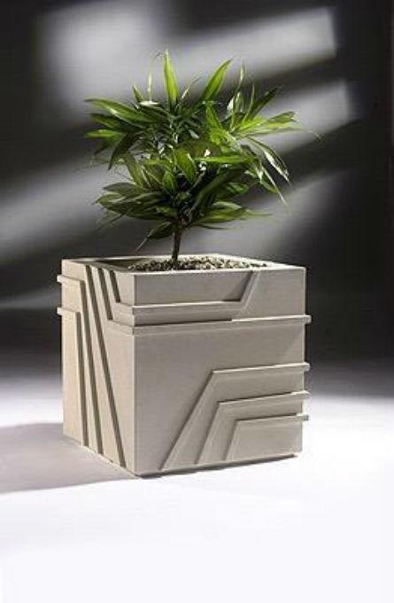 Grey White 24 Inch Square Fiberglass Planter