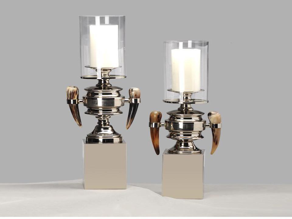 European style glass ox horn candlestick (A)