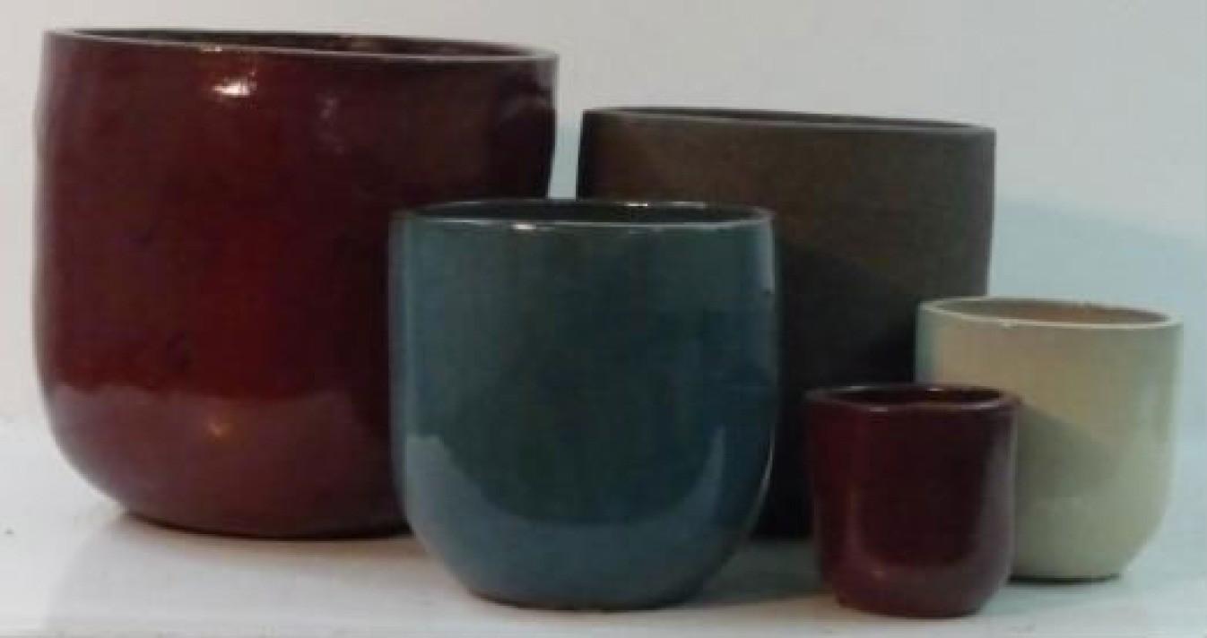Dark Red Ht 48 Cm Glazed Ceramic Planter