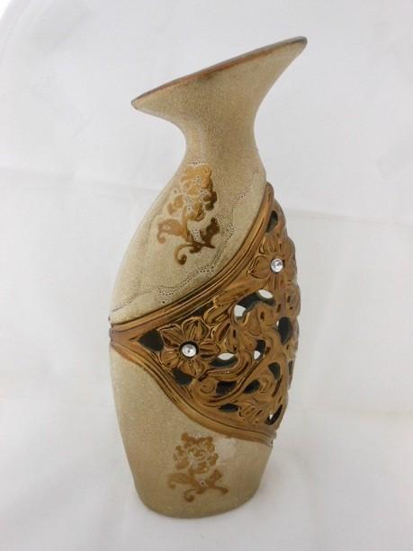Golden Decorative Flowers Embossed Design Flower Vase