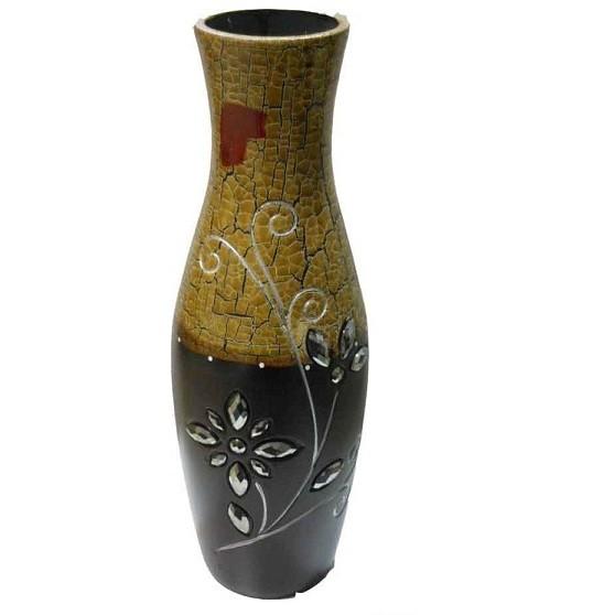 Large Cream And Brown Designer Flower Vase