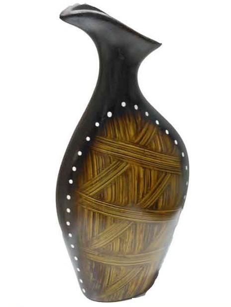 Dark Coffee Brown With Light Wood Texture Flower Vase