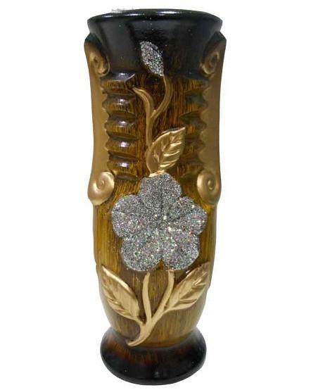 Wooden Texture Finish Golden & Silver Design Flower Vase