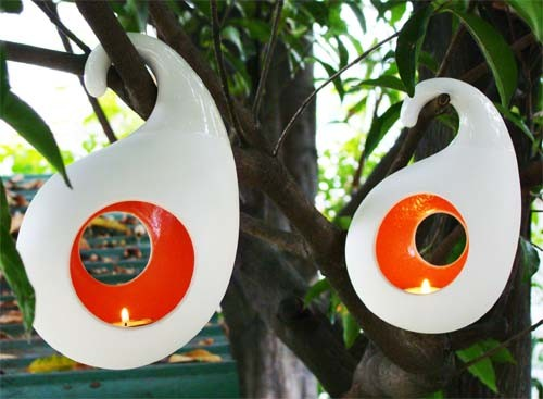 Hanging Candle Holder-Round-Small-Red / Orange