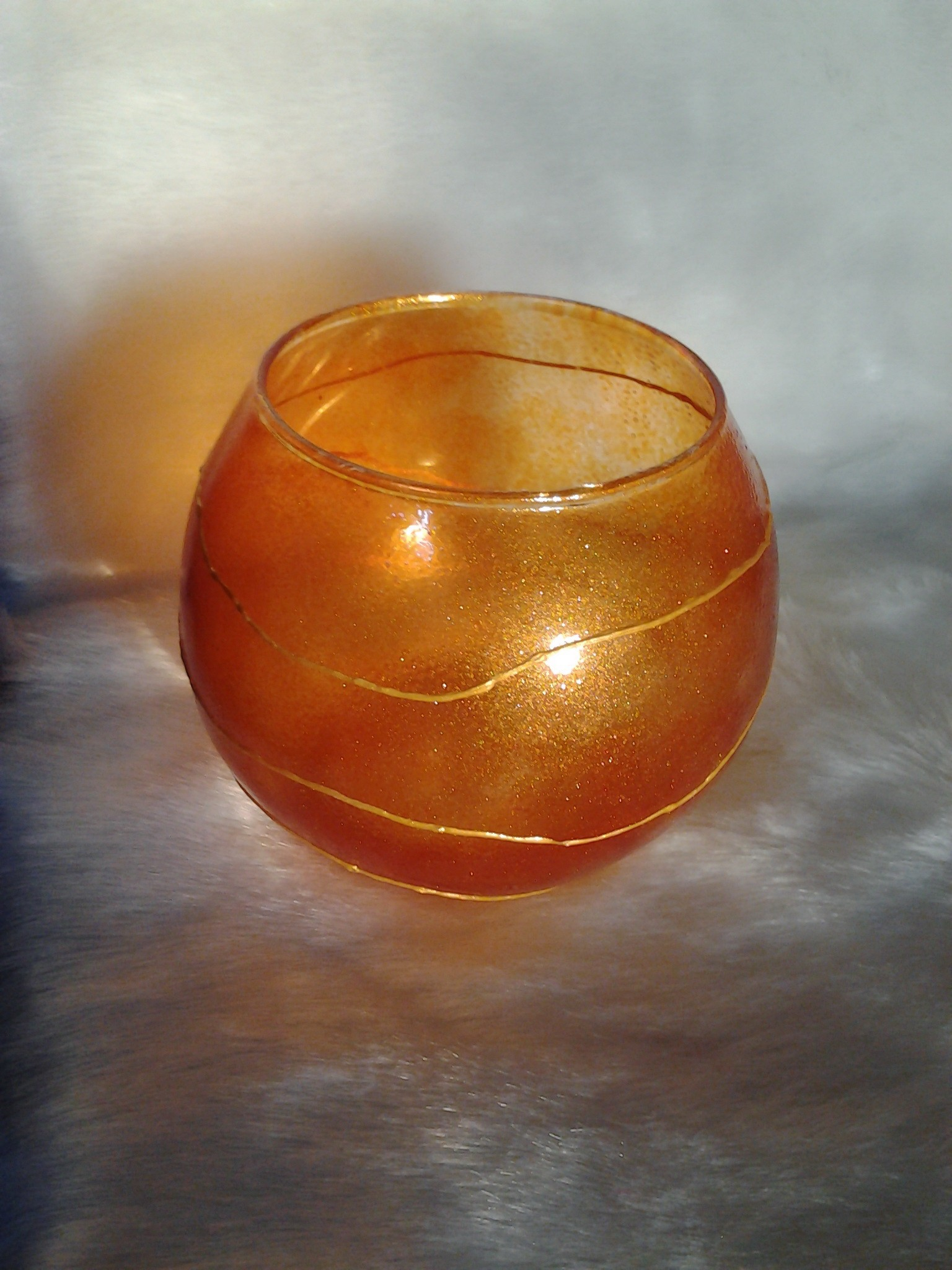 Golden Brownish Glass Candle Holder