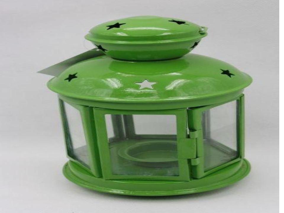 "Green colored mini lantern iron with glass size-6"""