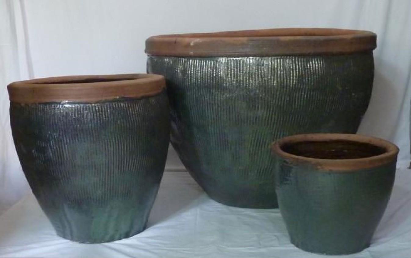 58cm Medium Green Glazed Ceramic Planter