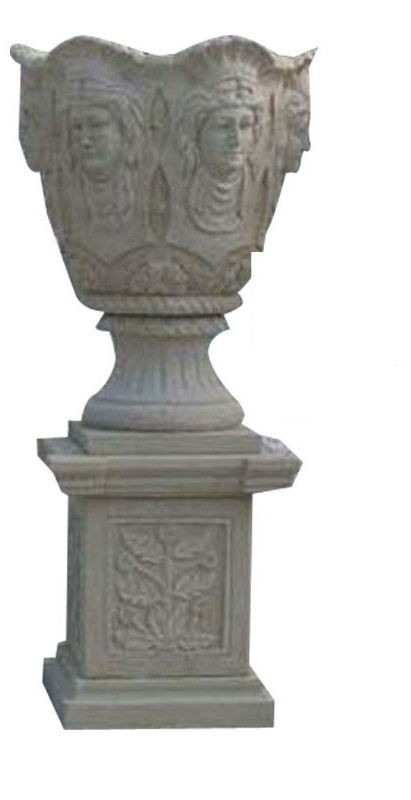 Grey Man Face Pattern Marble Stone Planter