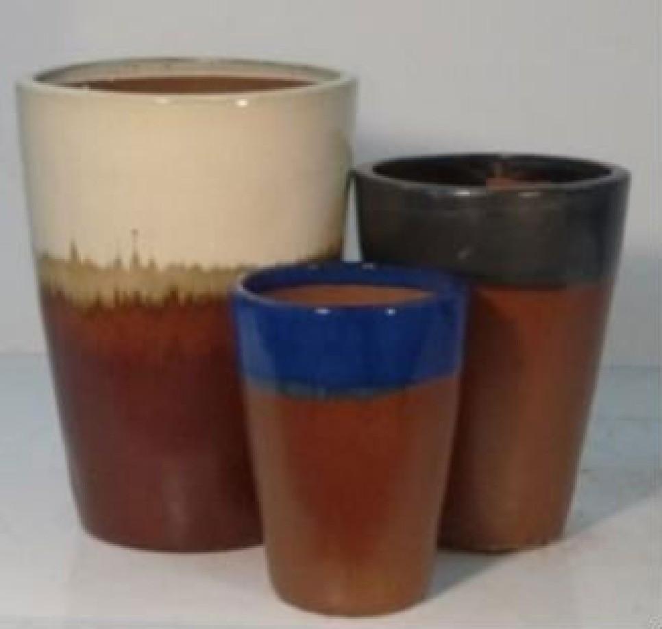 Classic Black With Copper Ceramic Planter