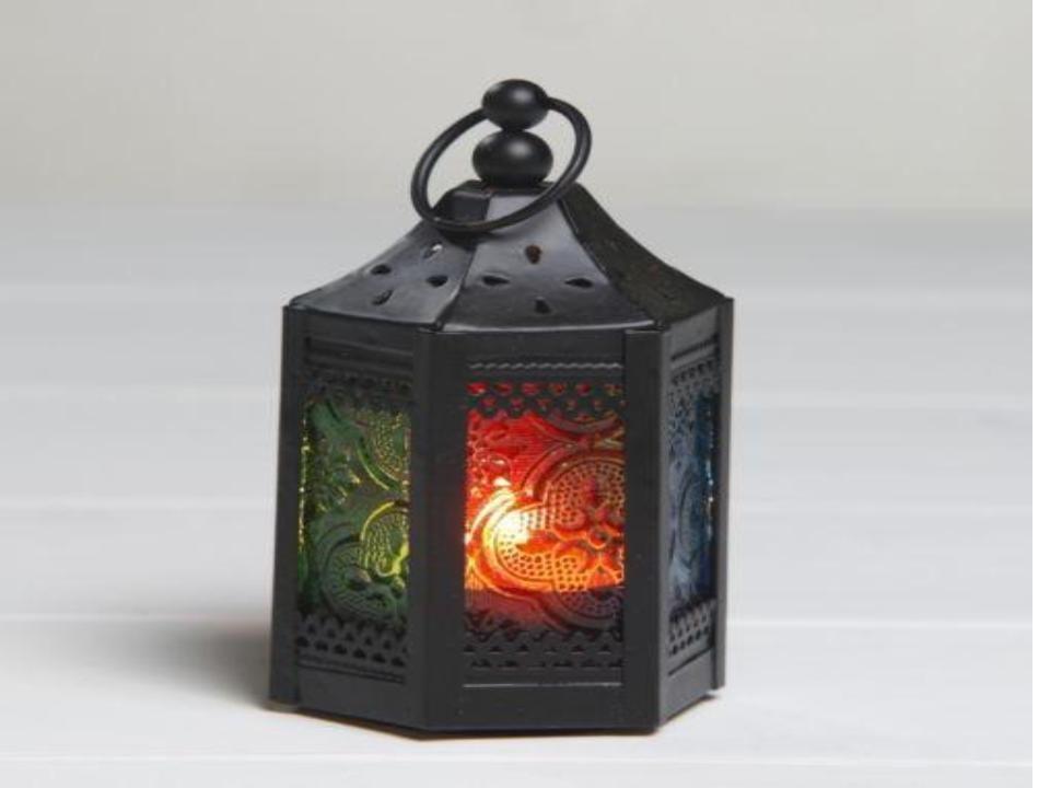 "Hexagon Black & Coloured Glass Small Lantern Size-8"""