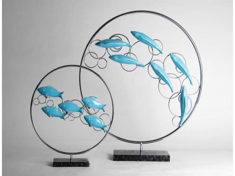 High quality resin big size floating fish ornament (B)