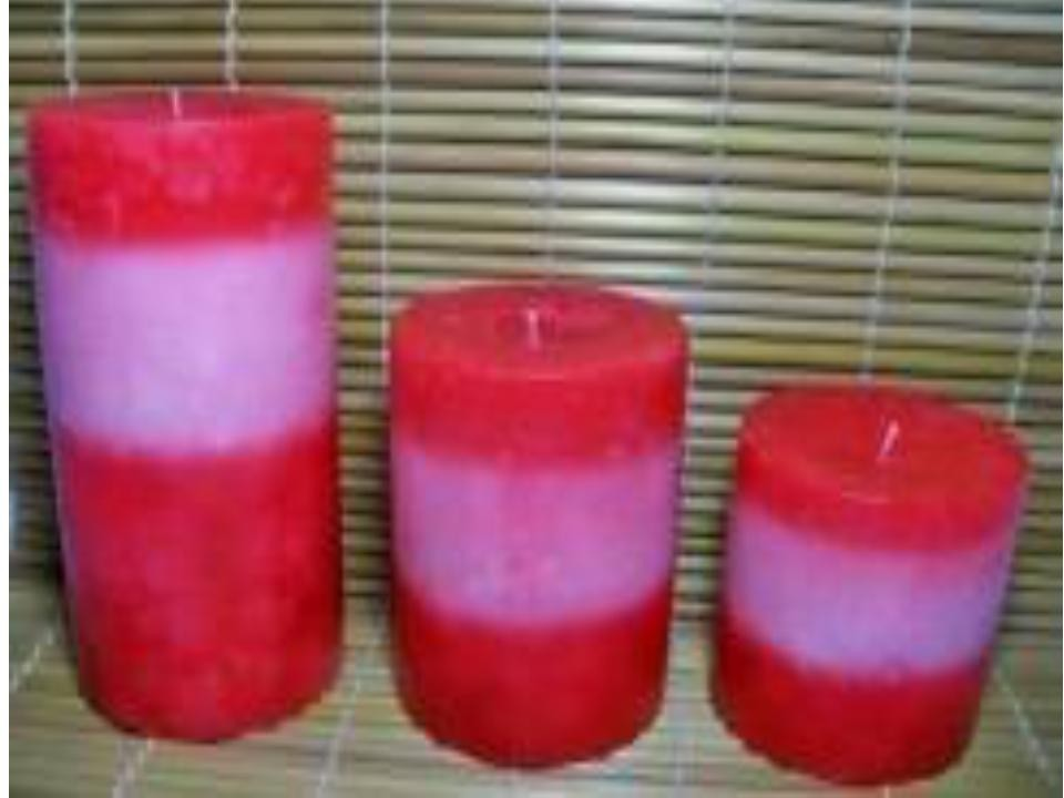 pink and red lines MOTTLED PILLAR candles