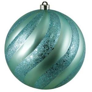 Blue Glass with Metal Cap Christmas Decor Dia 5 cms