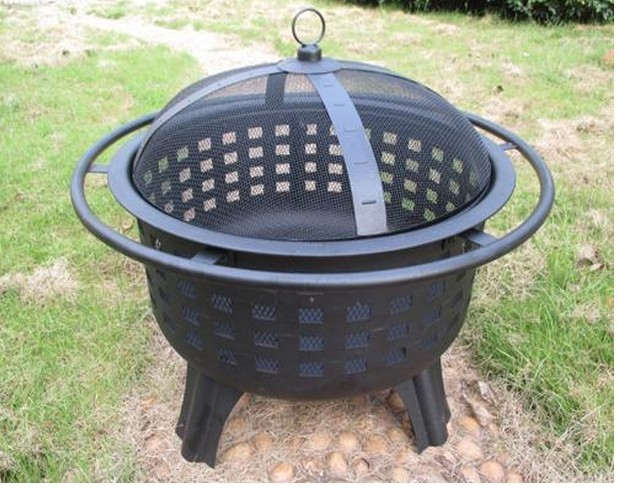 "Lattice Fire Pit with Optional Swing Out Grate for outdoor patio, 23.5"" dia steel bowl"