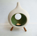 Small Ceramic Candle holder with 3 wooden legs- Drop shape