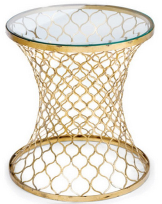 Iron Accent Table with glass, size 33x33x55 CM