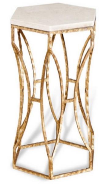 Iron stool with white marble, Size 30.5x30.5x46 CM