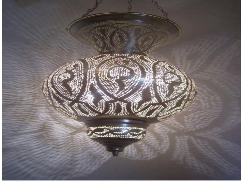 "Large Moroccan Brass Hanging Lamp size-20"""
