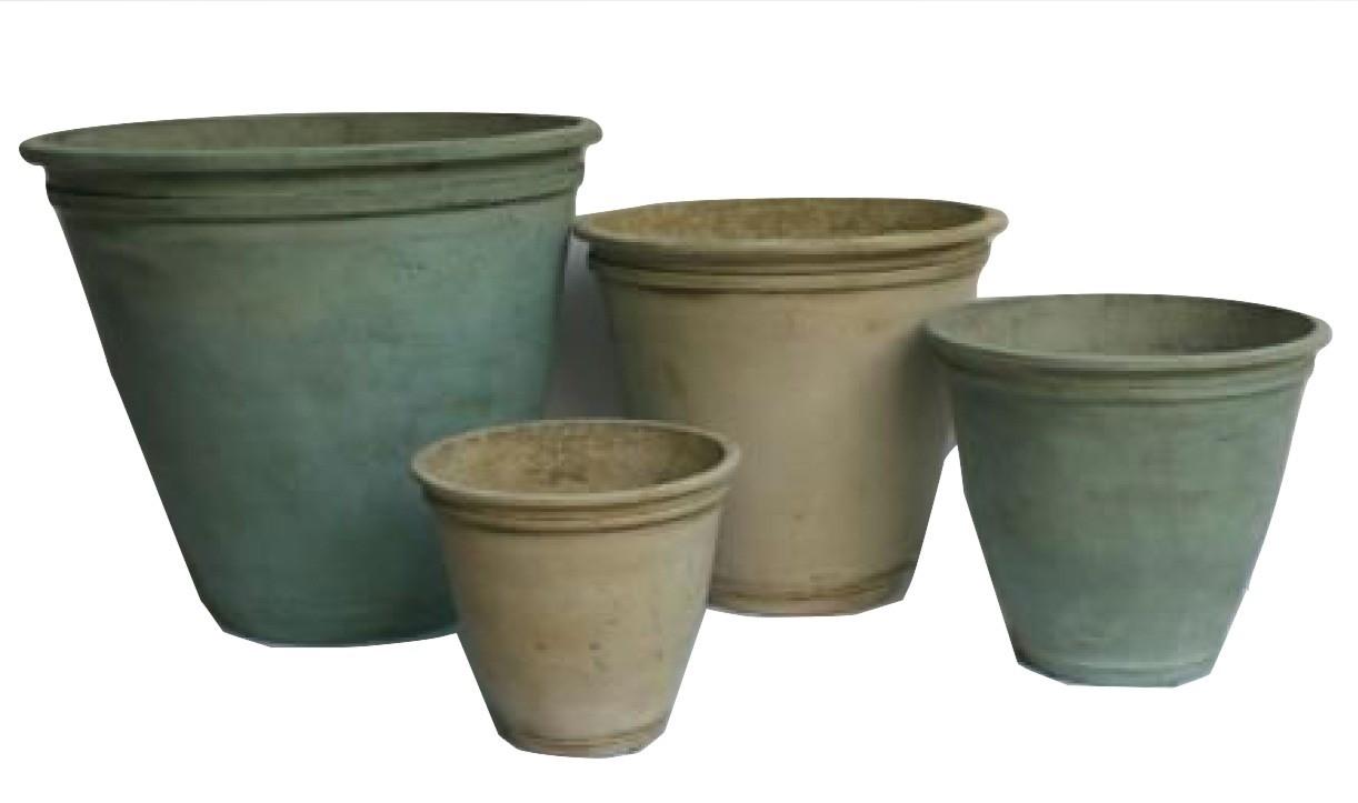 Large Size Aged Bronze Finish Cement Flower Pot