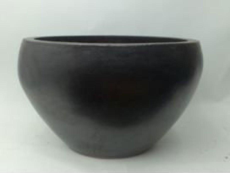 New Glazed Black Ht 24'' Ceramic Planter