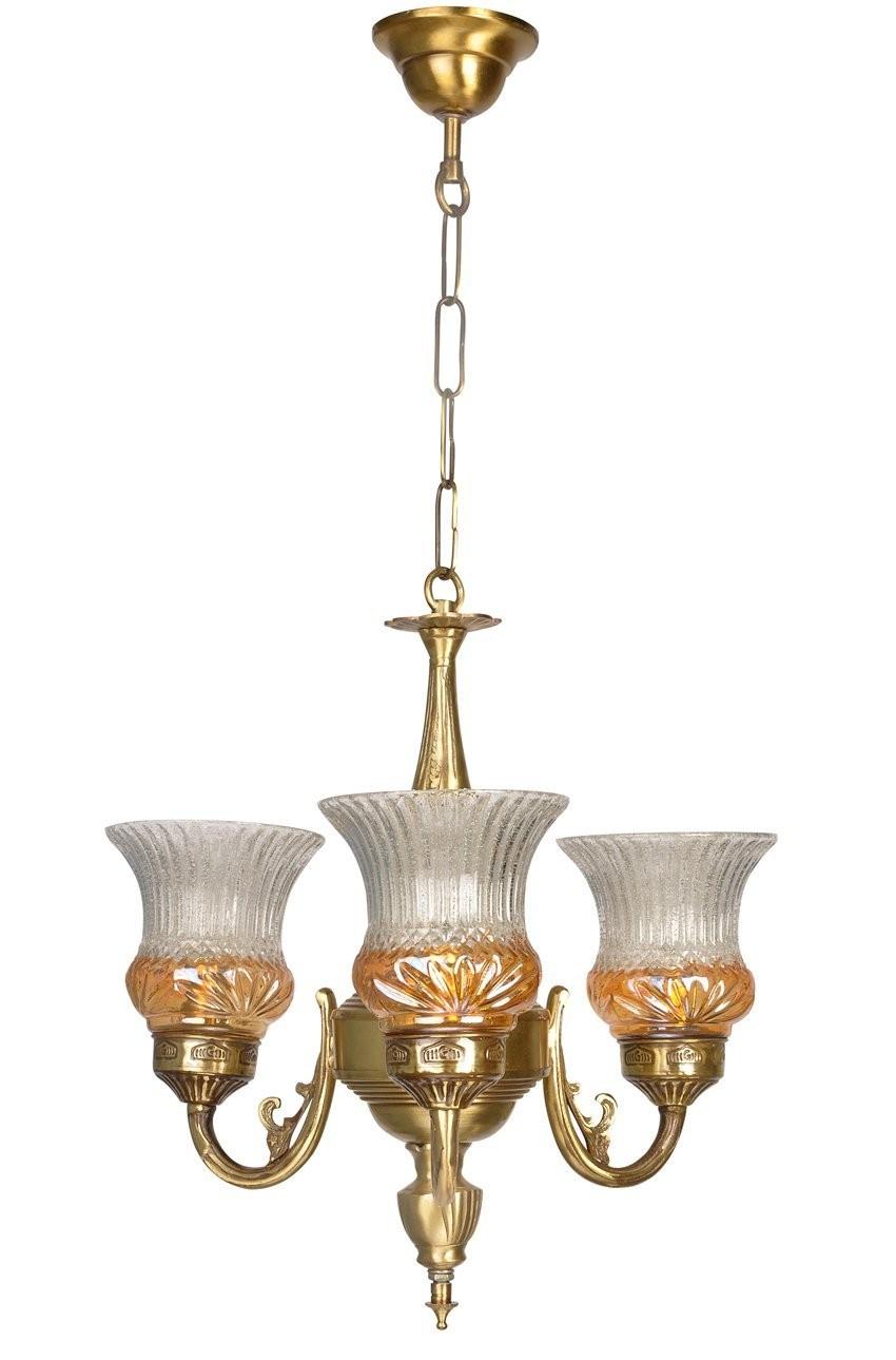 Lustrous Gold 3 Light Mini Antique Brass Chandelier