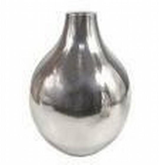 "9'' x 7""Metallic Silver Round Pot Shape Flower Vase"