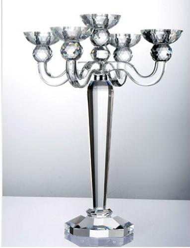 Modern 5 Arms Transparent Glass Candelabra