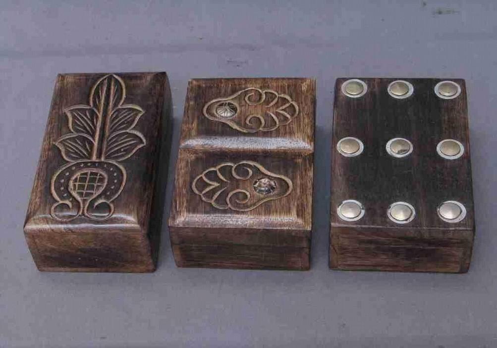 "Natural Wood Brown Metallic Work Wood Box(6''x 4"")"