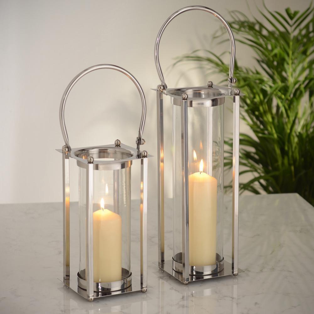 Nickel Finish Steel & Glass Candle Lantern, 10 X 10 X 25 CM