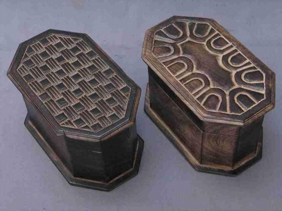 Two Octagonal Warm Oak Decorative Design Wood Box