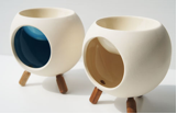 Round Ceramic Oil Burner with 3 Wooden Legs with colour glazed inside